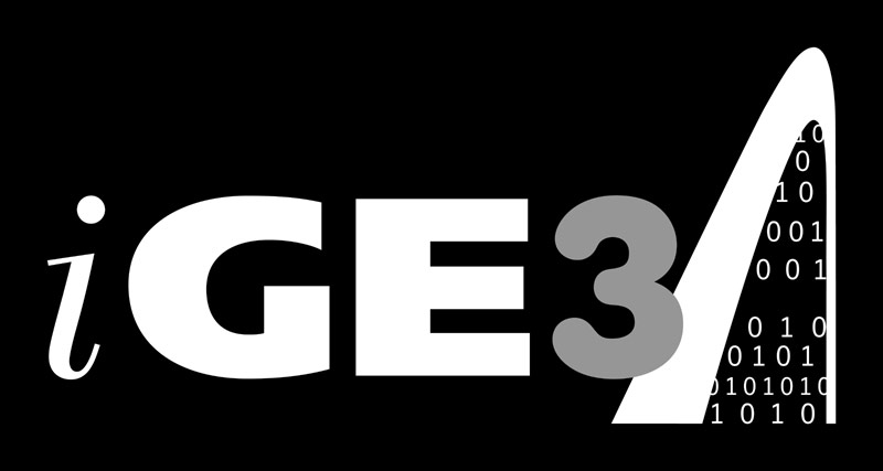 Simple white version of iGE3 logo